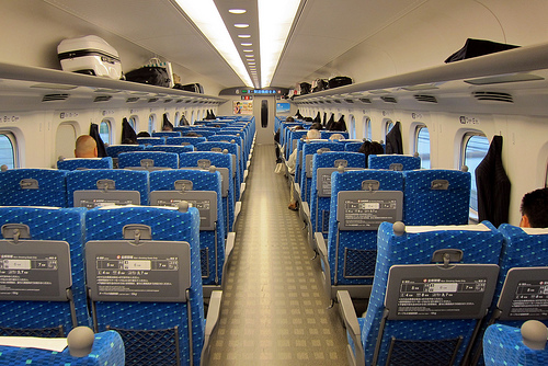 Interior view of a Shinkansen. Photo credit Wally Gobetz. Used with permission under Creative Commons License.