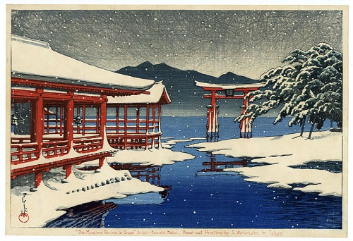 Miyajima Shrine in Snow by Hasui  Kawase. Woodblock print 1935.