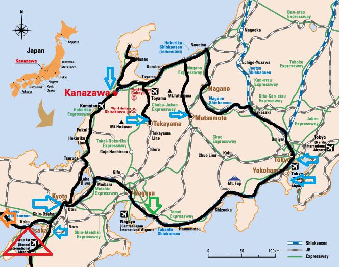 My 2015 Route around Japan.