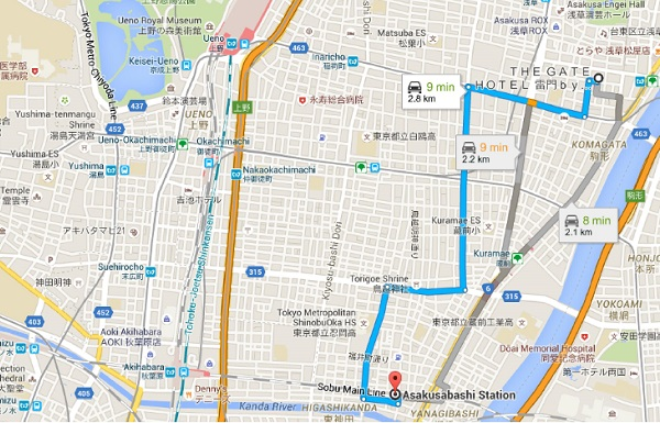 Route from Station to Hotel on Google Maps
