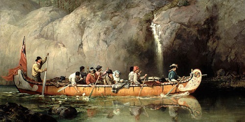 Voyageur canoe. Image credit to https://thediscoverblog.com/2015/05/02/self-portraits-by-women-artists-in-library-and-archives-canadas-collection/